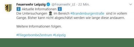Fliegerbombe, © twitter.com/Feuerwehr_LE