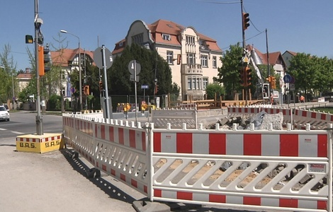 Oskarstraße, DVB, Gleisbaustelle, Baustelle, Bauarbeiten, © Sachsen Fernsehen