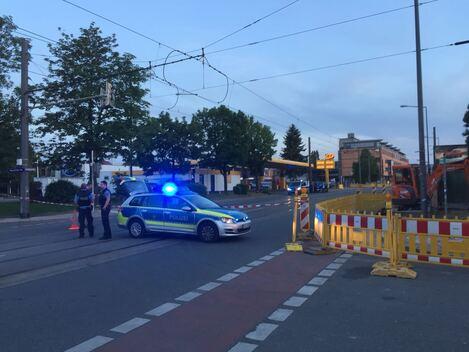 Polizeiabsperrung im Bereich der Fliegerbombe in Löbtau, © Sachsen Fernsehen