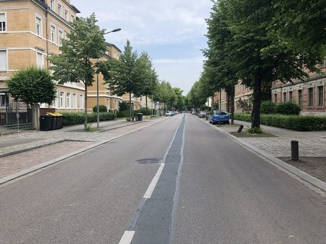 Evakuierter Straßenzug in Dresden-Löbtau, Reisewitzer Straße, © Sachsen Fernsehen