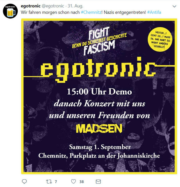Demonstration, egotronic, © Twitter egotronic