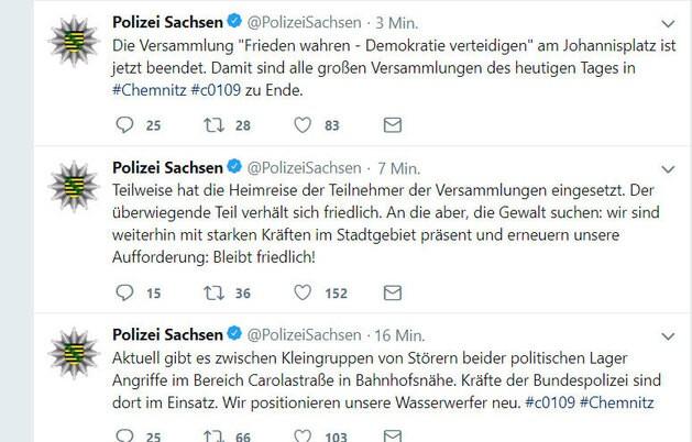 Demonstration, © Twitter Polizei Sachsen