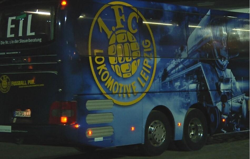 Lok Leipzig, 1. FC Lok Leipzig, Bus, © Sachsen Fernsehen