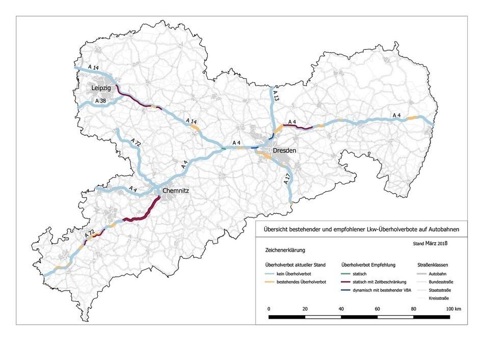 Überholverbot, © Sächsische Staatsministerium für Wirtschaft, Arbeit und Verkehr